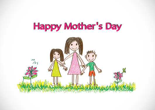 Happy mothers day card with family cartoons in illustration