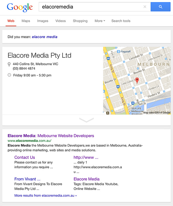 sitemap in google search results elacore media